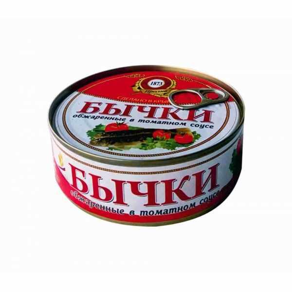 Бычки обжаренные в томатном соусе,